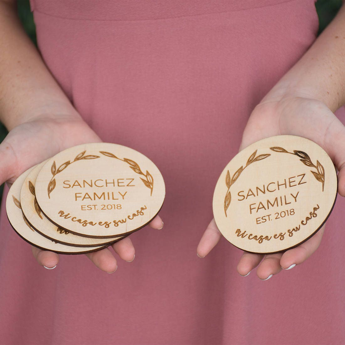 Personalized Coaster Set Engraved Wood Mi Casa Es Su Casa