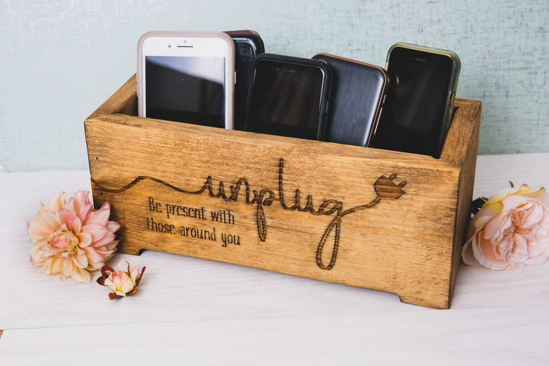 Unplug Box Rustic Wood cellphone charge station