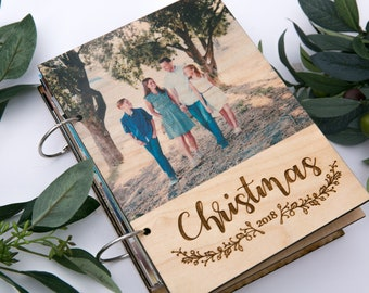 Album Personalized   Christmas Cards or Wedding Photos - Your Picture Printed on Wood Cover