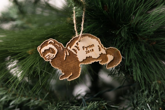 Christmas Ferret.Personalized Ferret Christmas Ornament Name Date