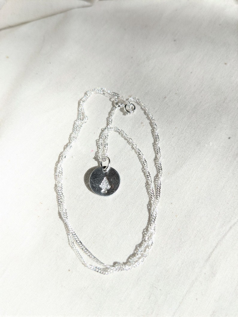 Dainty Pine Tree Silver Necklace Cute Beautiful Gift Small Floral
