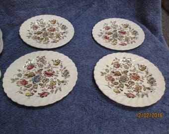 Staffordshire Bouquet Bread Plate Set of 4 Johnson Brothers Store On Trent EXCELLENT !
