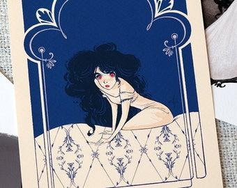 Carmila - Art Neauveau - Digital Drawing - Art Print