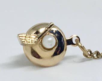 Swank Golf Ball and Club Tie Pin With Cultured Pearl