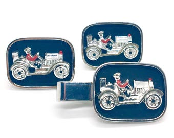 Vintage Antique Racing Sports Car Cufflinks By Swank