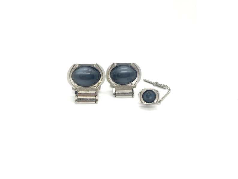 Grey Glass Cabochon Cufflink and Tie Pin Set Vintage Swank