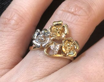 14k Yellow and White Gold Floral Ring, 14k Romantic Flower Ring, Solid Gold Flower Ring