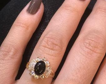 14k Gold Black Onyx Ring, Black Onyx and Crystal Ring