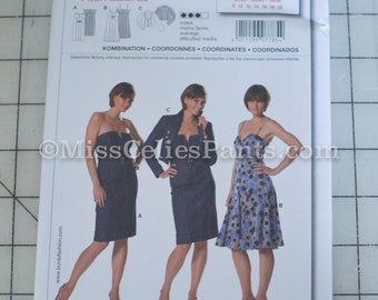 Halter / Strapless dress, godet, spaghetti strap, jacket, Burda International, 7785