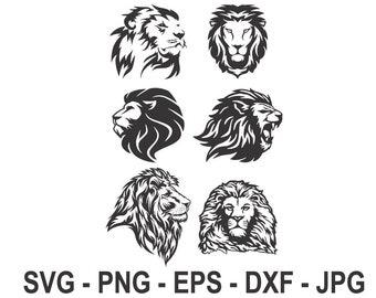 Lion svg,Lion head svg,Instant Download,SVG, PNG, EPS, dxf, jpg digital download