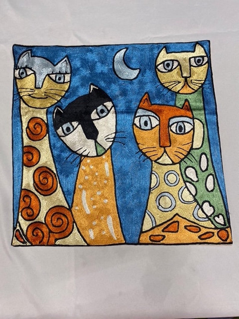 18x18inch Pillow Cover  four cats and  light blue moon blue  background  painting