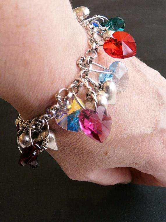 Silver heart charm bracelet with swarovski crystals coloured   Etsy