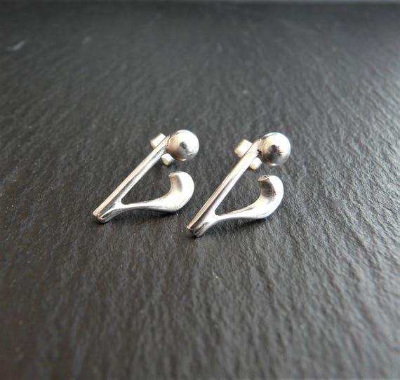 Quaver Musical Note 925 Sterling Silver Stud Earrings Colour Option