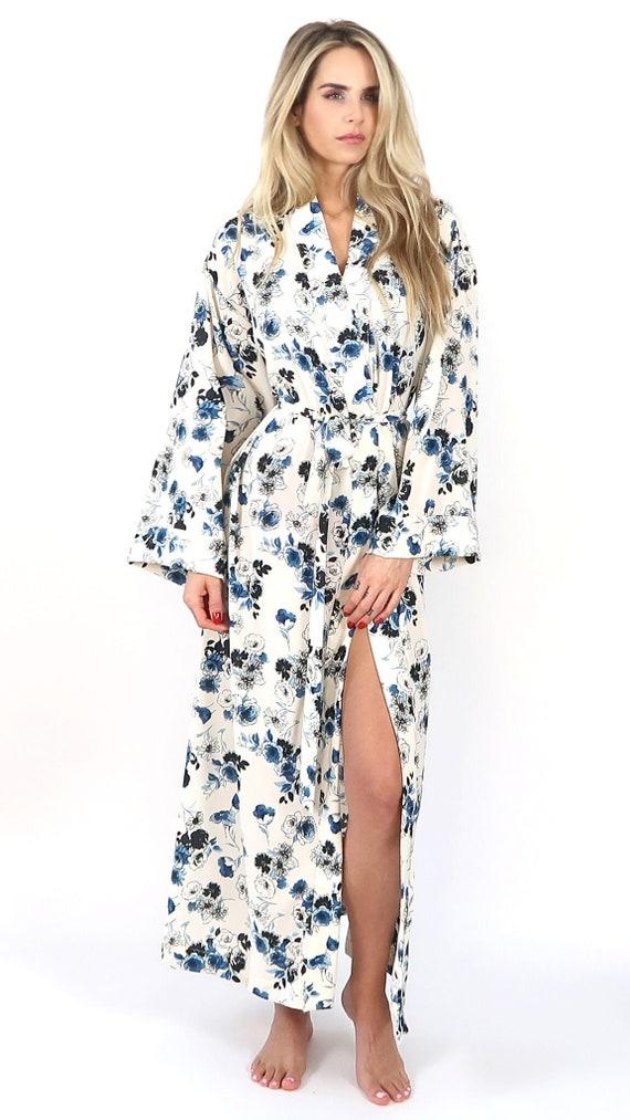 b7133eda6b7 Navy Drawn Floral Kimono Robe
