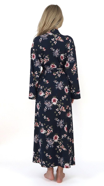 e843015e9c1 Navy Floral Kimono Robe