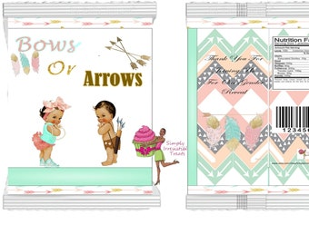 Custom Chip Bags-  Personalized Favor Bag- Party Bag-  Candy Bag- Popcorn Bag (  Gender Reveal Bows or Arrows )