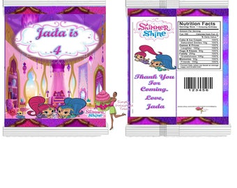 Custom Chip Bags-  Personalized Favor Bag- Party Bag-  Candy Bag- Popcorn Bag (  Shimmer and Shine )