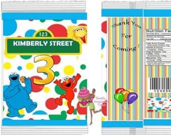 Custom Chip Bags-  Personalized Favor Bag- Party Bag-  Candy Bag- Popcorn Bag (  Sesame Street )
