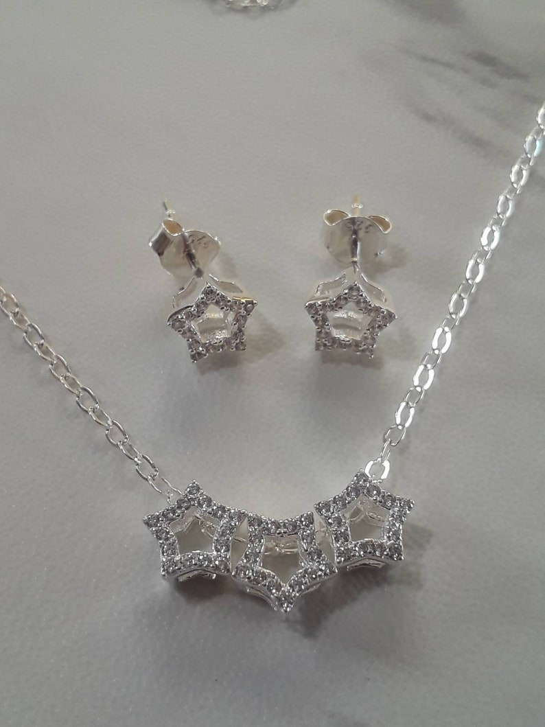 Matching Necklace and Earring Jewelry Set Genuine Sterling Silver Star Necklace Cubic Zirconia Star Charms and Earrings