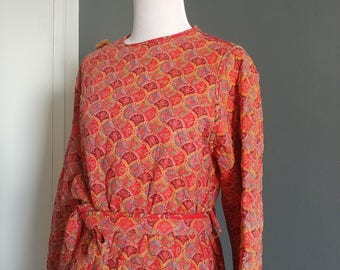 Vintage quilted cotton orangy red super long coat, size XS-S