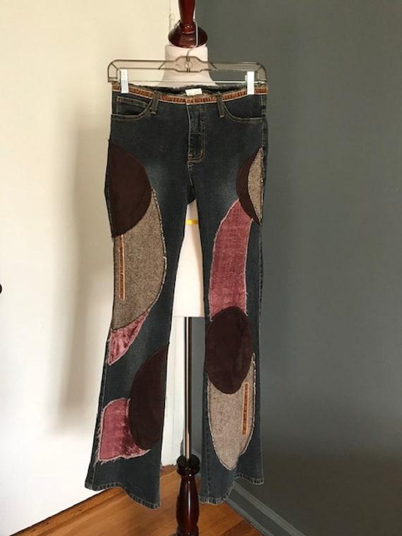 Vintage patchwork flare jeans