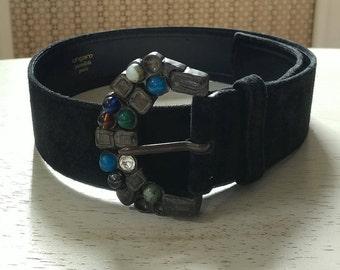 Vintage black suede leather Ungaro stone embellished belt