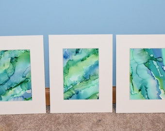 Northern Lights trio - alcohol ink triptych greens & blues