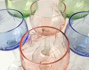 6x Jugendstil CORDIAL GLASSES | Liquor GLASSES | Pastels