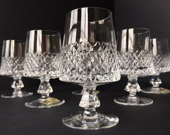 set of 5, Very Rare and Elegant cognac Glasses with Diamond cut. 30% Highest Quality lead crystal, BARTHMANN, vintage Barware, Bar Cart item