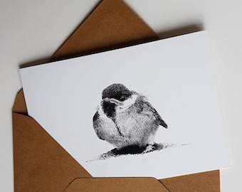 Great tit baby, print of an inkdrawing, double card with envelope
