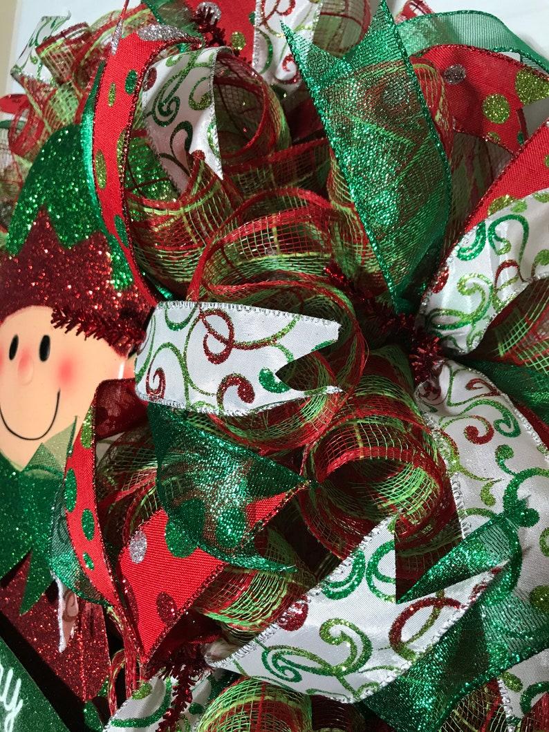 Mesh Wreath Christmas Wreath Holliday Wreath Best Wreath Red and Green Wreath Merry Christmas Wreath Elf Wreath Custom Wreath