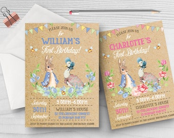 10 Personalised 1st Birthday Invitations Invites Boy Girl Peter Rabbit Beatrix Potter ANY AGE
