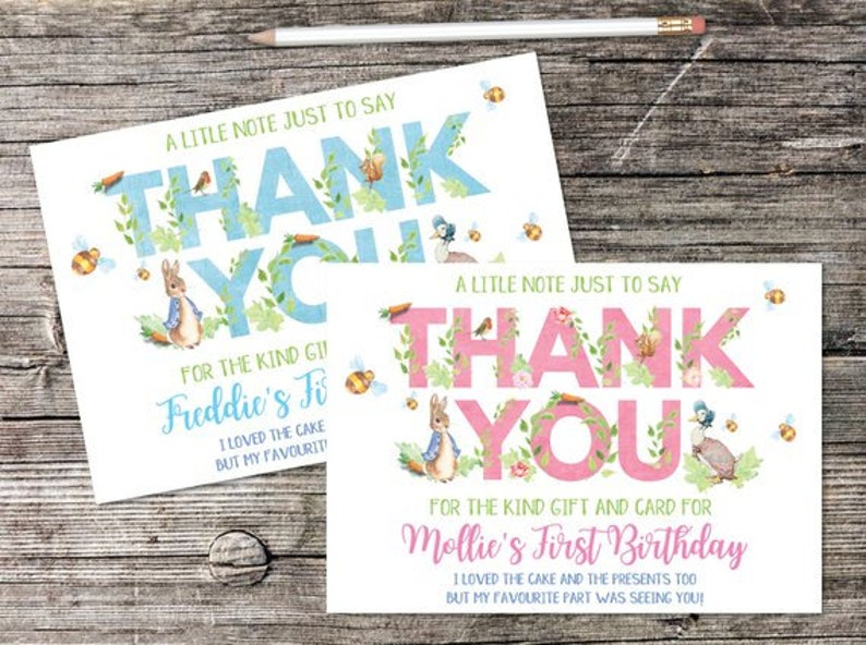 DIGITAL COPY Personalised Thank You Cards Peter Rabbit Beatrix Potter