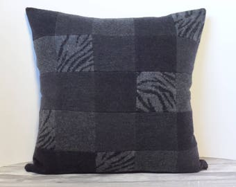 "Recycled wool sweater slipcover for 18"" cushion -- dark grey, black & zebra"