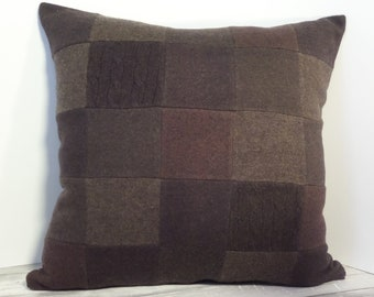 "Recycled wool sweater slipcover for 18"" cushion -- dark chocolate brown"