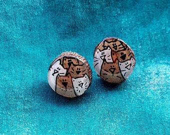Painted Wooden Ear Stud Cats, made from natural wood slices, wood craft,tree branch forest jewelry, eco-friendly  earrings