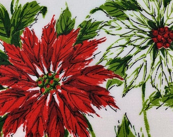Vintage, Tablecloth, Traditional Christmas Poinsettias, Beautiful Reds and Greens with Black Outlining, Perfect for Your Holiday Table! 1960