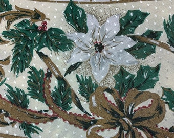 """Vintage, Christmas Tablecloth, 72"""" Round, White Poinsettias and Pinecones with Gold Bows! Shiny Bright Pattern, Great 1970's Holiday look!"""