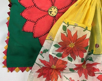 Vintage, Poinsettia Appliqued Pillow Cover, Color Coordinating Poinsettia Apron, It's Christmas in the 1940's! Beautifully handmade.
