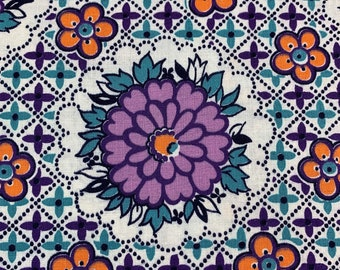 Vintage, Fabulous, 1940's Floral Print, Happy Color Combination of Orchid, Orange and Aqua, Quality Cotton for Quilting or Vintage Apron!