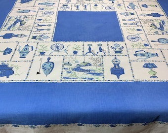 Vintage, Tablecloth, Cute Winter Scene with all the Things that Make a Home Cozy! Blue and White, Perfect for Farmhouse Country Look! 1950's