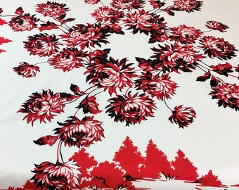 Vintage, Tablecloth, Vibrant and Beautiful! Red and Black Chrysanthemums, Queen Anne, Printed on Indian Head Cotton, Sewn in Label,  1950's