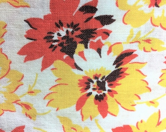 """Vintage, Feed Sack, Floral, 43"""" X 36"""", Vivid Orange and Yellow Gold Blossoms, Quilting, Kitchen Curtains, Farmhouse, """"Sunshine Bright"""""""