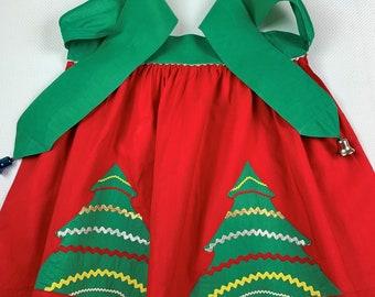 Vintage Christmas, Half Apron, Handmade and Designed! Christmas Trees Decorated with Shinny Ric Rac, Jingle Bells on the Ties! 1960's