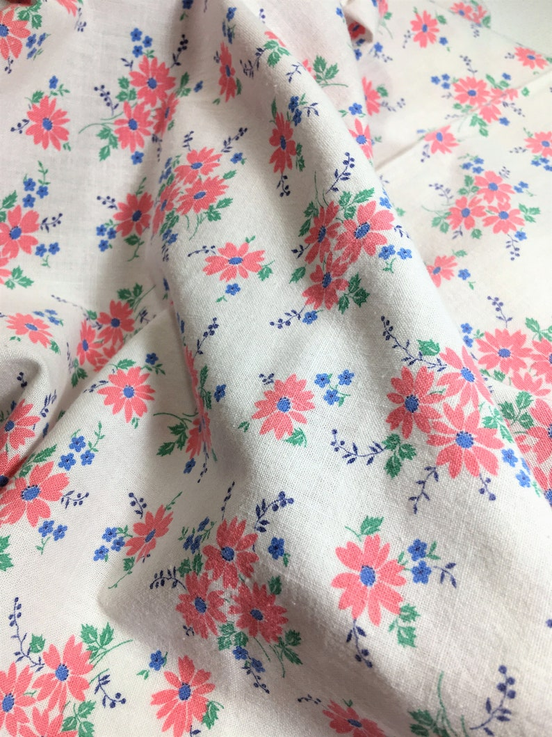 43x36 Sweet Print for a Baby/'s Quilt or Room! Small Delicate Daisy Print in Pink Vintage Fabric Feed Sack Full Sack and Green Blue