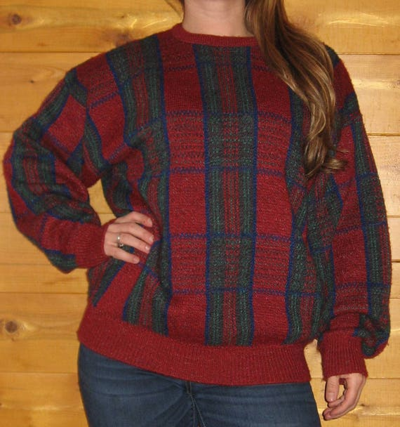 20d2483d32ef66 90 s Vintage Plaid Sweater  Darker Red With Green And Navy