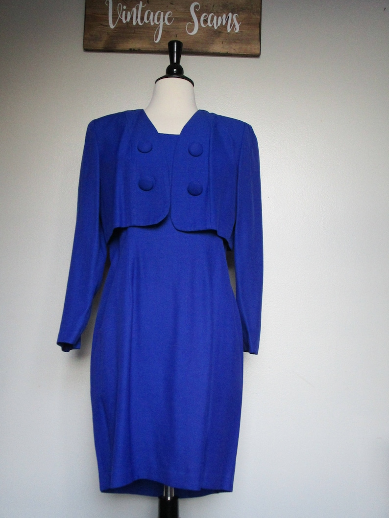 6987e80a342fc FREE SHIPPING/ 90's Vintage Royal Blue Dress/ Zipper Back/ Jacket With  Shoulder Pads/ Party Dress/ Cocktail Dress/ Classy Vintage Dress