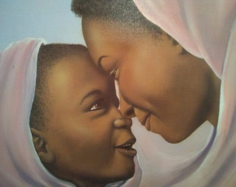 MOTHER And DAUGHTER Painting On Canvas By WOODRUM