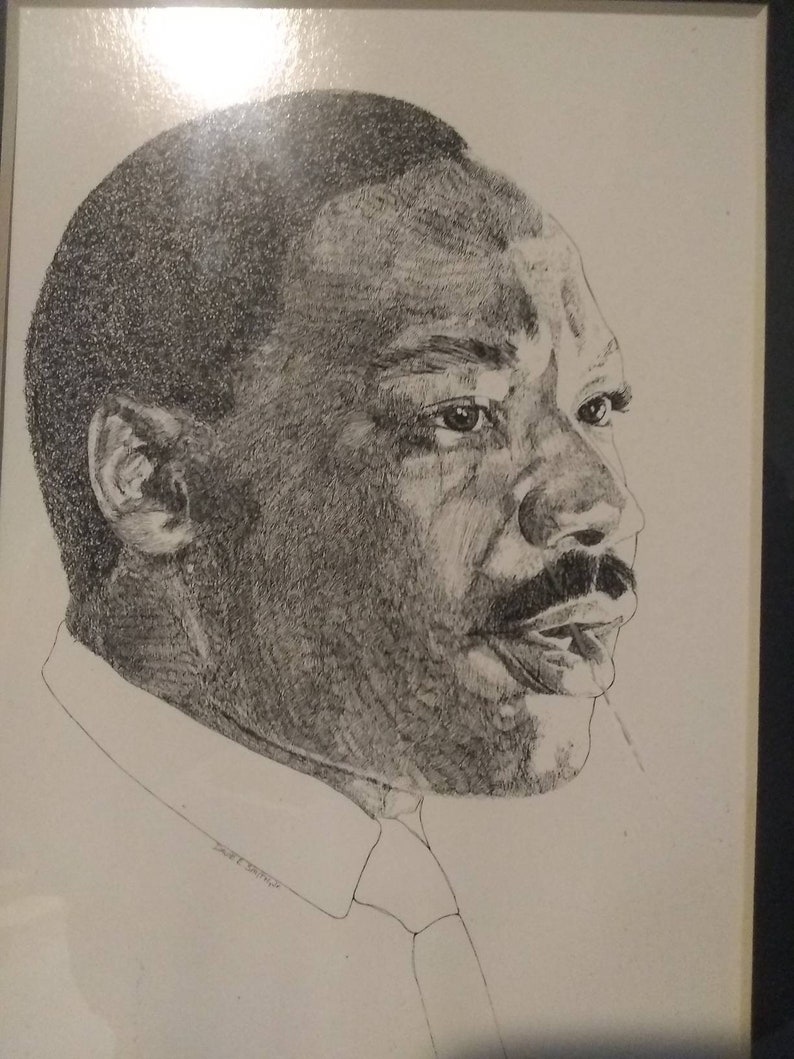 Smith Jr Martin Luther King Jr. Davie E Ink Etching Art Print of Dr