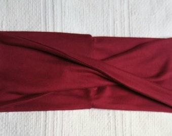 Headband woman Cross Red Raspberry brushed polyester
